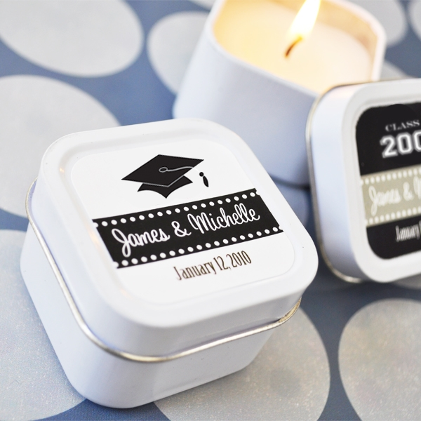 """Hats off to You"" Personalized Graduation Square Candle Tins wedding favors"