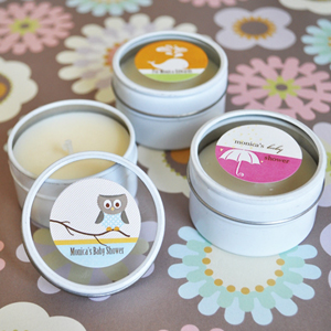 Elite Design Baby Shower Personalized Round Candle Tins  wedding favors