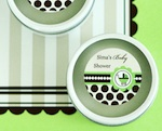 Personalized Round Candle Tins - Green Baby  wedding favors