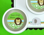 Personalized Round Candle Tins - Jungle Safari  wedding favors