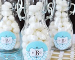 Mod Monogram Personalized Mini Glass Bottles  wedding favors