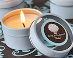 Personalized Theme Round Travel Candle Tins wedding favors