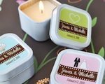 Square Personalized Theme Candle Tins wedding favors