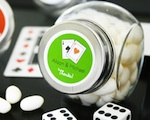 """A Lucky Pair"" Vegas Themed Candy Jars wedding favors"