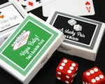 """A Lucky Pair"" Vegas Themed Gum Boxes wedding favors"
