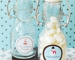 """A Winter Holiday"" Personalized Mini Glass Bottles  wedding favors"