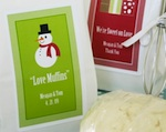 """A Winter Holiday"" Muffin Mix wedding favors"
