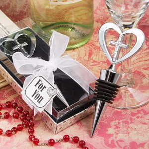 Elegant Heart And Cross Design Wine Bottle Stopper Favors wedding favors