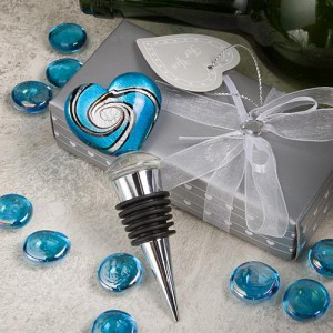 Stunning Murano Heart Design Wine Bottle Stoppers wedding favors