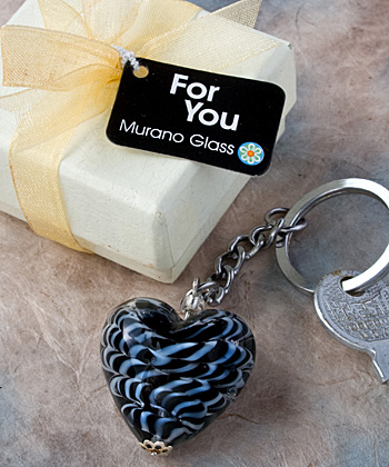 Murano Glass Collection Heart Design Key Chain Favors wedding favors