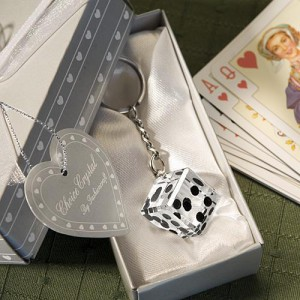 Las Vegas Themed Chrome Keychain With Crystal Dice wedding favors