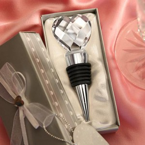 Chrome Bottle Stopper With Crystal Heart Design wedding favors