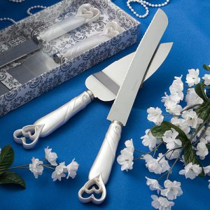 Interlocking Hearts Design Cake Knife/server Set wedding favors