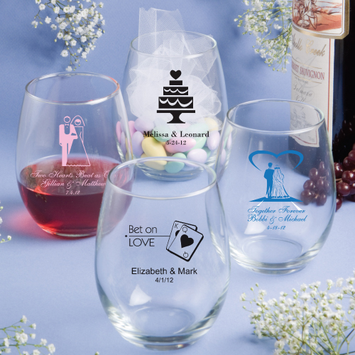 15 ounce stemless wine glasses On stemless wine glasses wedding favors