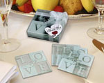 LOVE Glass Coaster Set wedding favors