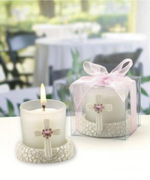 Glass Candleholder Featuring A Cross With A Pink Heart-shaped Rhinestone wedding favors