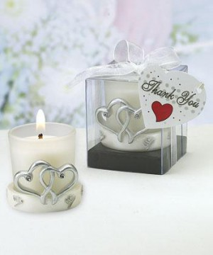 Interlocking Silver Heart Design Candleholders wedding favors