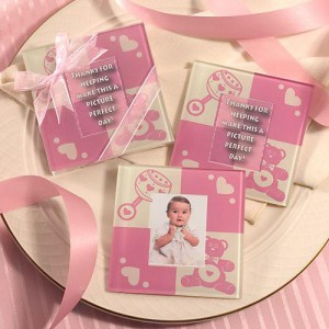 Baby Girl Glass Photo Coasters wedding favors
