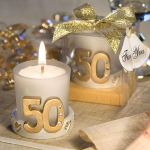 Golden Anniversary Candle Favors wedding favors