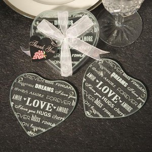 Heart Design Glass Coaster Favors (Set of 2) wedding favors