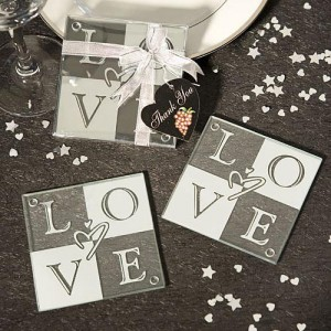 LOVE Glass Coasters (Set Of 2) wedding favors