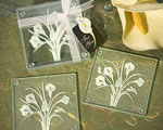 Calla Lily Bouquet Design Glass Coaster Sets (Set Of 2) wedding favors