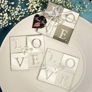 Mirror Finish LOVE Coaster Sets wedding favors