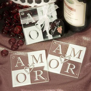 AMOR Glass Coaster Favors (Set Of 2) wedding favors