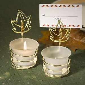 Autumn-Inspired Place Card Holder Candle Favors wedding favors