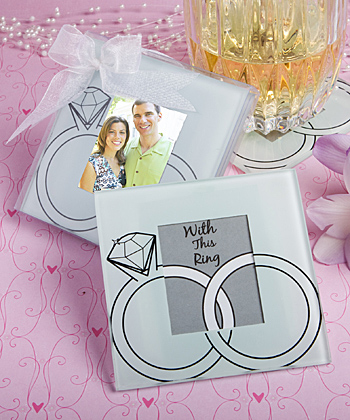 Wedding Rings Design Glass Photo Coasters wedding favors