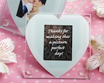 Heart Design Glass Photo Coaster Favors wedding favors