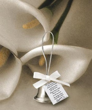 Silver Kissing Bells wedding favors