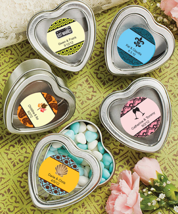 Personalized Expressions Collection Silver Heart Shaped Mint Tins wedding favors