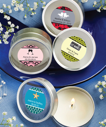 Personalized Expressions Collection Scented Round Travel Candles wedding favors