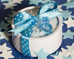 Round Tins Filled With Blue & White Bath Confetti wedding favors