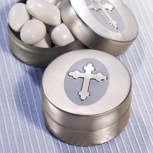 Silver Cross Design Mint Tins wedding favors