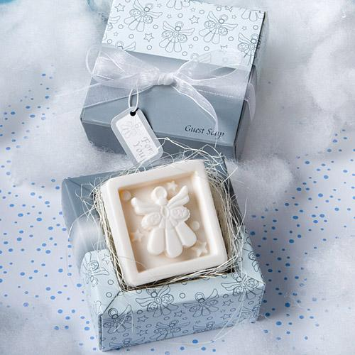 This scented angel soap favor is an elegant design for a Winter Wedding
