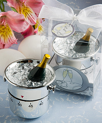Whimsical Champagne and Ice Bucket Kitchen Timer Favors wedding favors