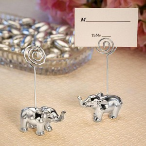Silver Finish Elephant Place Card Holders wedding favors