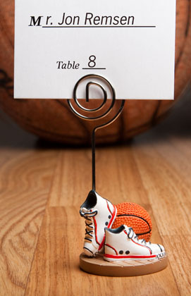 Basketball-Themed Place Card Holders wedding favors