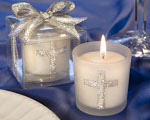 Silver Cross Themed Candle Favors wedding favors