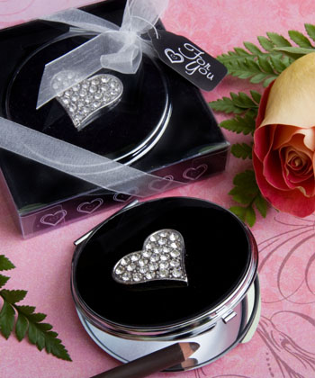 Classy Compacts Collection Heart Design Metal Compact Favors wedding favors