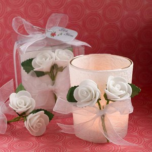 White Rose Candle Favors wedding favors