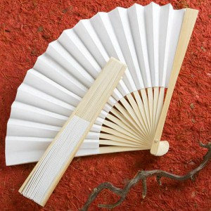 Elegant White Folding Fans wedding favors