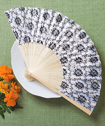 Elegant Silk Fan with Damask Design wedding favors