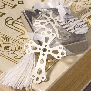 Book Lovers Collection Cross Bookmark Favors - Silver wedding favors