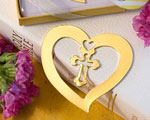 Book Lovers Collection Heart And Cross Design Bookmark Favors wedding favors