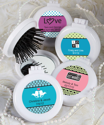 Personalized Expressions Collection Brush/mirror Compact Favors wedding favors