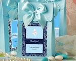 "Blue ""Delivered With Love"" Boxes From The Personalized Expressions Collection wedding favors"