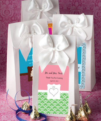"White ""Delivered With Love"" Boxes From The Personalized Expressions Collection wedding favors"